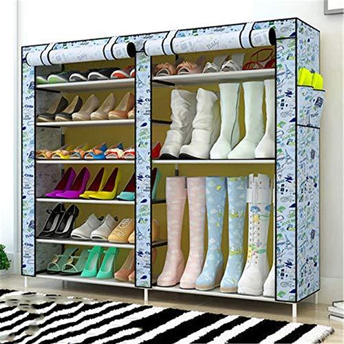 Decoración de muebles Caja de zapatería plegable Caja de zapatos Doble fila Zapato simple Montaje Montaje Cabineta Multi-capa Oxford Paño Simple Moderno Refuerzo Zapato Estante para zapatos Botas Zapa