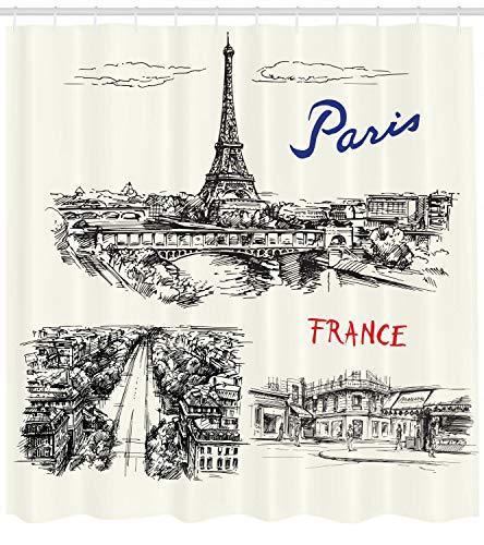 FANG2018 Bosquejo Decorativo de la Cortina de Ducha monocromática temática de la Ciudad parisina Francesa