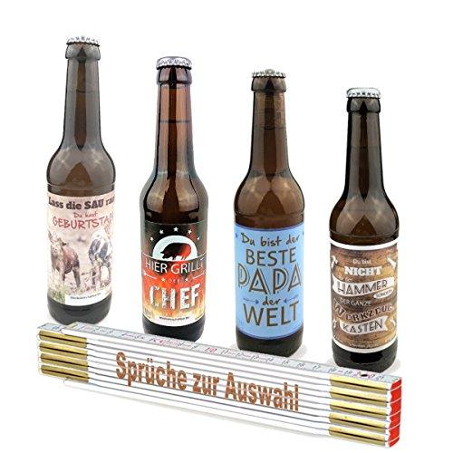 2-teiliges Geschenkset Zollstock mit Spruch zum auswählen und Bier zum auswählen, Bier:Papa, Sprüche Zollstock:Papa IST DER Beste