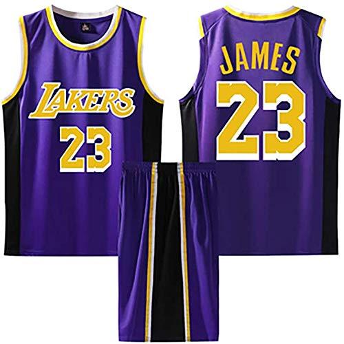 BASPORT Lakers James # 23 Basket ,Abbigliamento Genitore-Figlio per Sportivo da Basket per Adulti Completo da uomoJersey,Maglia da Basket (Viola, 3XL)