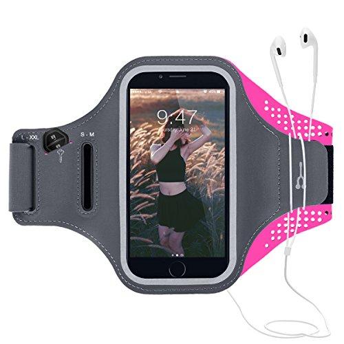 CE-Link Sport Armband iPhone,Android Sportarmband Hülle Handytasche Handyhülle Mit Schlüsselhalter, Kartenfach für iPhone Samsung Huawei bis 5.2 Inch - Rose