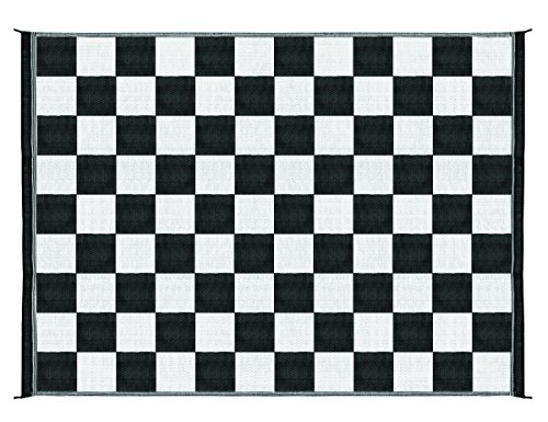 Camco Large Reversible Outdoor Patio Mat - Easy to Clean, Perfect for Picnics, Cookouts, Camping, and The Beach (9' x 12', B/W Checkered Design) (42827), Black & White Checkered