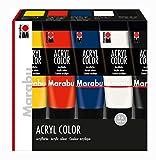 Marabu 1201000000087 - Acryl Color Set, cremige Acrylfarbe auf Wasserbasis, schnell trocknend, zum Auftragen mit Pinsel oder Schwamm, 5 x 100 ml in gelb, zinnoberrot, dunkelblau, weiß und schwarz