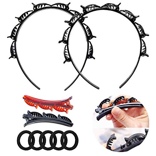 Double Layer Twist Plait Headband Hair Tools, Multi-Layer Hollow Woven Headband, Double Bangs Hairstyle Hairpin, Headband with Alligator Clip Korean Style Fashionable