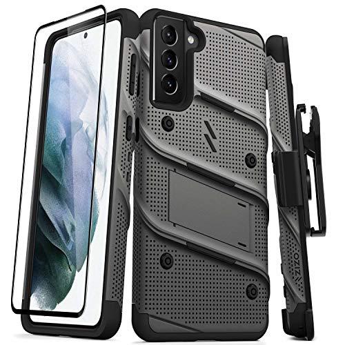 ZIZO Bolt Series for Galaxy S21 Plus Case with Screen Protector Kickstand Holster Lanyard - Gun Metal Gray