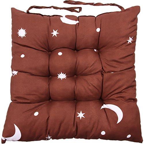 Vanki Soft Chair Pad Cushion 14'x14',Moon And Star Style Brown