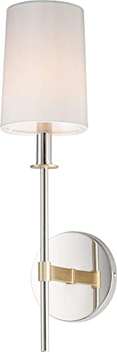 """lowest Maxim 32391OFSBRPN Uptown Fabric Shade Torchiere Wall Sconce, 1-Light 60 Watt, new arrival 20""""H x 5""""W, Satin popular Brass/Polished Nickel outlet online sale"""