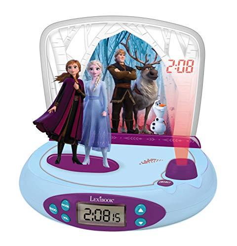 Lexibook Disney Frozen La Reine des Neiges 2 Elsa & Anna, Réveil projecteur avec Sons, Veilleuse intégrée, Projection de l'heure au Plafond, Effets sonores, à Piles, Bleu/Violet, RP510FZ