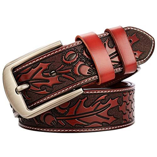 Cintura Uomo Jeans Marrone Nero Vera Pelle 105~125 Cm Foglia D'acero Fibbia Ad Ardiglione Di Alta Qualità Larghezza Cintura 3,8 Cm (Rosso Marrone,115 cm)
