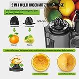 Aucma Slow Juicer mit elektrischer Zitruspressen Funktion, Multifunktions-Entsafter mit 2 Geschwindigkeiten für Obst und Gemüse, Entsafter mit Rücklauffunktion, Anti-Oxidation Juicer Extractor