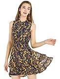 Allegra K Mini Vestido Floral De Gasa con Volantes En Niveles Cintura Fruncida A-Línea para Mujeres Azul Marino M