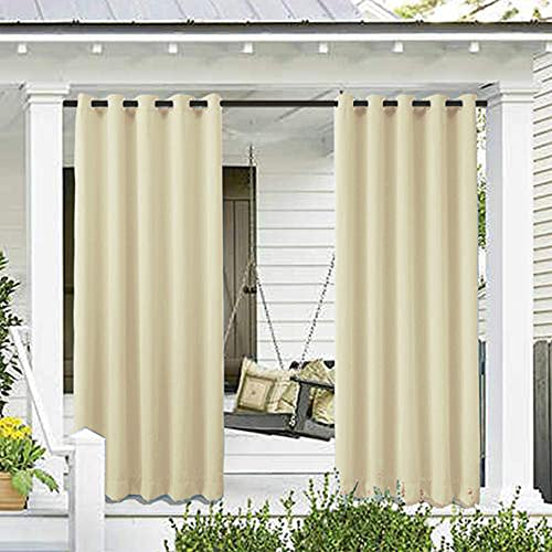 Anyoupin Outdoor Patio Waterproof Curtains,Porch Decor Thermal Insulated Waterproof Curtain for Bedroom,Pergola,Porch,Gazebo and Cabana 1 Panel(Beige W52 x L95 Inch)