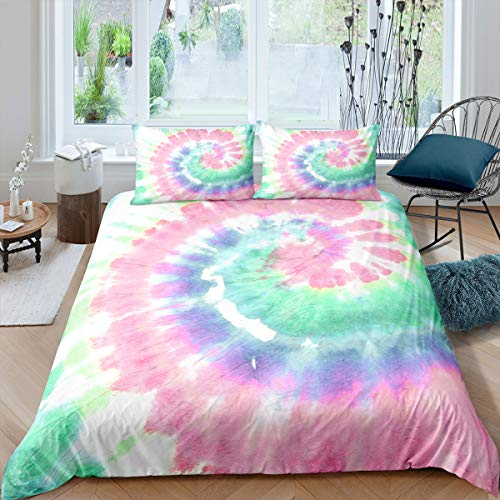 Erosebridal Tie Dye Comforter Cover Queen Size Boho Psychedelic Duvet Cover for Kids Boys Girls Teens Bohemian Gypsy Bedding Set Exotic Spiral Colorful Bedspread Cover Comfy Decorative Room