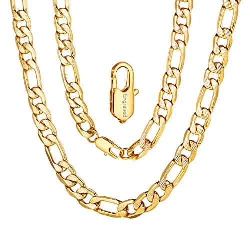 Cadenas Personalizables Oro Hombres Collares Acero Inoxidable 316L Estilo Hip Hop 7.5mm Eslabones Redondos Anchos 18 Inch Joyerías Modernas para Cumpleaños