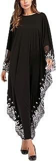Zhuhaitf Summer Muslim Gowns Batwing Abaya Islamic Clothing Dubai Dress for Women Black