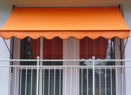 Angerer Klemmmarkise PE-Gewebe Uni, Orange, 350 cm