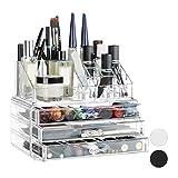 Relaxdays 10023137_50 Organizer Make-Up, Piccolo, 2 Pezzi, Contenitore per Cosmetici con C...