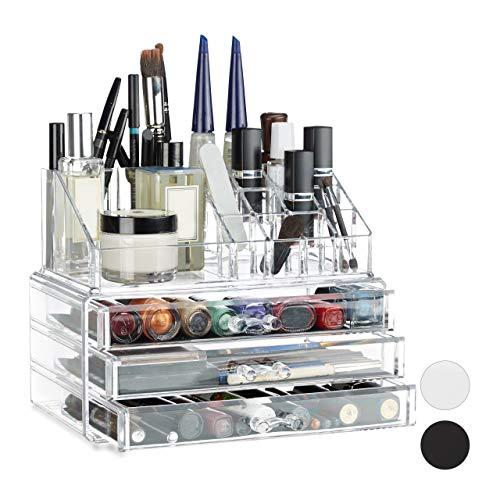 Relaxdays Make Up Organizer klein, 2-teilige Schminkaufbewahrung mit Schubladen, stapelbares Kosmetikregal, transparent