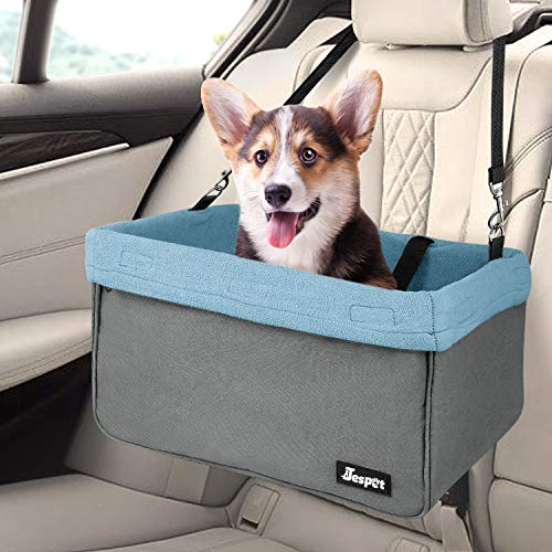 Jespet Dog Booster Seats for Cars, Portable Travel Pet Car Seat Carrier with Seat Belt for 24lbs Pets