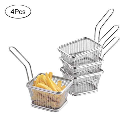 aoory 4 Teilig Set Edelstahl Frittierkörbchen Mini Pommes Korb zum Servieren von Fritten Pommes Frites Zwiebelringe Chicken Nuggets