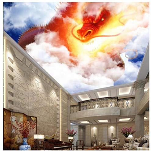 Fotobehang aangepaste 3D-foto HD blauwe hemel en witte wolken dier draak plafond muurschildering behang slaapkamer woonkamer achtergrond muur 400(w)x280(H)cm
