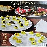 Classic de cerámica plato de huevo (–, 3unidades, color blanco