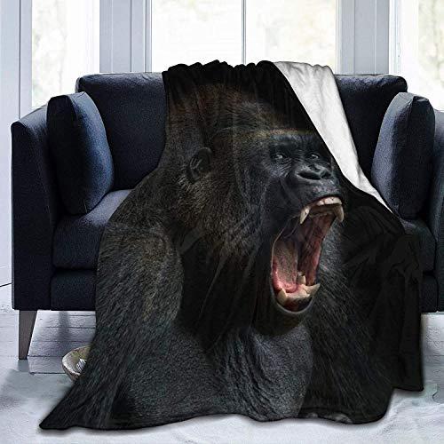 REEDOPTN Throw Blanket Flannel Fleece Animal Ape Monkey Gorilla Silverback Teeth Portrait Close-up Mountain Africa Emotions Water Repellent Fabric Throw, Lightweight Blankets 90x90 Inches