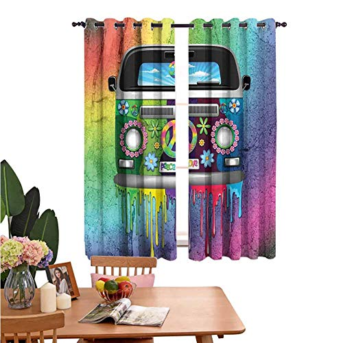 Bedroom Insulation Curtain Groovy Old Style Hippie Van with Dripping Rainbow Paint Mid 60s Youth Revolution Movement Theme Great for Living Rooms and Bedrooms W72 x L62