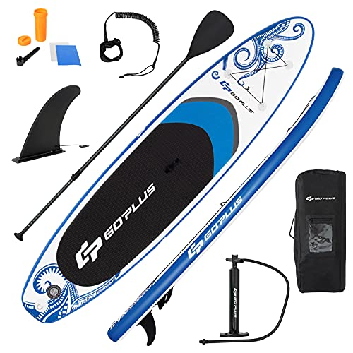 Goplus Tavola da SUP Gonfiabile, Stand Up Paddle Surfboard, SUP Paddle Tavola da Surf Paddleboard con Pagaia Regolabile, Pompa, Borsa e Pinne, Carico Fino a 130kg (325x76x16CM)