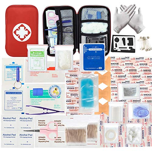 LISOPO 234pcs Trousse de Premier Secours Mode d'emploi en français Voiture Boitier Rouge Semi-Rigide Mini Box Sac d'urgence Médical...