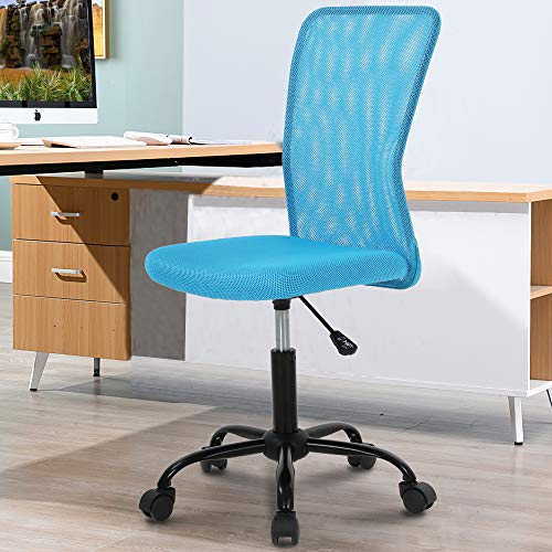 Home Office Chair Computer Chair Desk Chair Mid Back Mesh Chair Height Adjustable Small Office Chair, Modern Task Chair No Armrest Cheap Rolling Swivel Chair Student Office Chair with Wheels,Blue