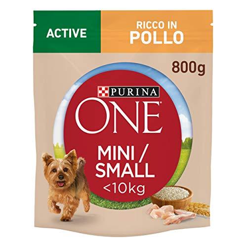 Purina One Mini  10 kg Crocchette Cane Active Ricco in Pollo con Riso, 8 Confezioni da 800 g Ciascuna, Peso Totale 6,4 kg