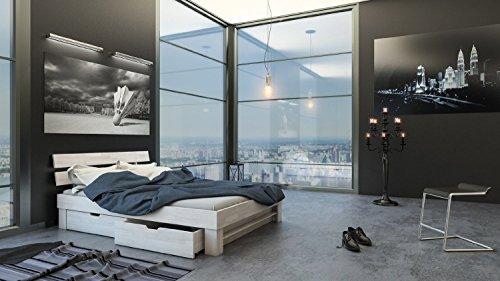 SAM® Massiv-Holzbett Julia mit Bettkästen in Buche weiß, 160 x 200 cm, Bett mit geteiltem Kopfteil, natürliche Maserung, massive widerstandsfähige Oberfläche in edlem Weißton - 3