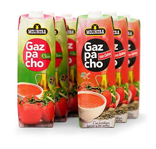 Molinera Gazpacho Tradicional y con Quinoa Sopas Frias - Paquete de 6 x 1000 ml - Total: 6000 ml