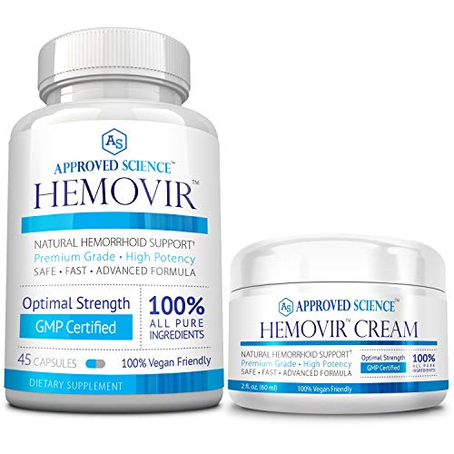 Hemovir - Best Hemorrhoid & Fissure Treatment for Rapid Healing; Reduce Itching, Irritation, Bleeding & Burning 100% Natural Ingredients - 1 Bottle & 1 Cream