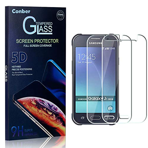 Conber Panzerglasfolie für Samsung Galaxy J1 Ace, [2 Stück] 9H gehärtes Glas, Kratzfest, Blasenfrei, Hülle Fre&llich Hochwertiger Panzerglas Schutzfolie für Samsung Galaxy J1 Ace