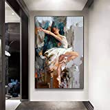 WCLGDJ Pintura al óleo Abstracta de niña de Ballet sobre Lienzo, Carteles e Impresiones, Bailarina, Cuadro artístico de Pared, Cuadro para decoración de Sala de Estar 50x70cm Sin Marco
