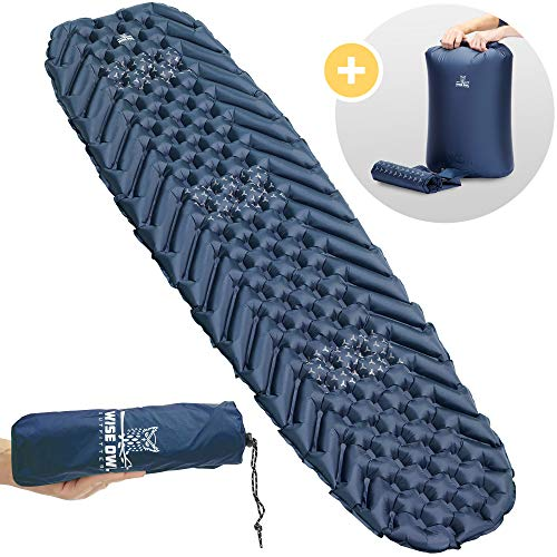Wise Owl Outfitters Camping Pad – Premium Inflatable Camping Sleeping Mattress for Outdoor and Backpacking – Ultralight Compressible Mat – Bubble and Wave Design with Air Inflator Bag Included (Blue)
