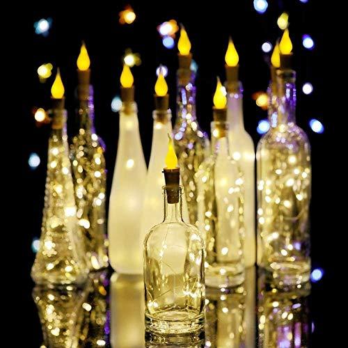 GFSDDS kerstverlichting fee slinger kaars fles led snoer licht vlamloze thee wax kurk 2 in 1 batterij 2 m 20 LED party bruiloft kerstdecoratie lichten, warmwit