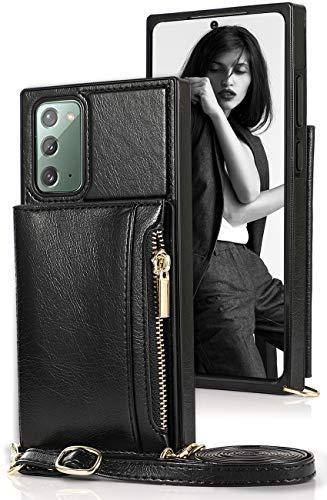 Lederhülle Galaxy Note 20 Ultra Hülle mit Kette & Tasche Premium PU Echtleder Standhülle für Samsung Note 20 Ultra Wallet Hülle mit Band Etui Brieftasche Handyhülle Note 20 Ultra Hülle Cover 6.9