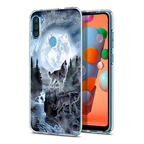 Eouine for Samsung Galaxy A11 Case, Phone Case Transparent Clear with Pattern Ultra Slim Shockproof Soft Gel TPU Silicone Back Cover Bumper Skin for Samsung Galaxy A11 Smartphone. (Wolf)