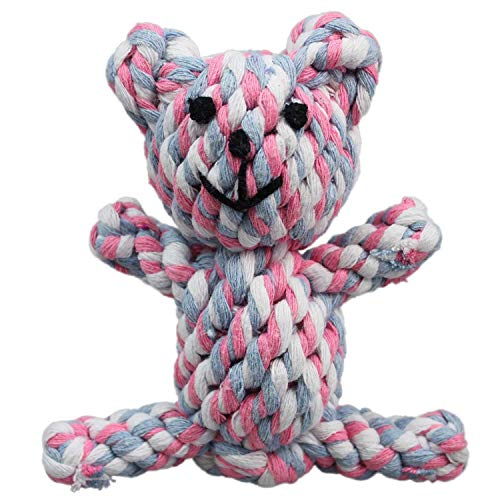 """SunGrow Teddy Toy for Dogs, 5"""" x 2"""" Knotted Rope Material, Strong and Soft Cotton for Teething Time, Durable Chew Toy for Puppies and Small Breeds, Perfect for Adult Pugs, Terriers and Toy Poodles"""