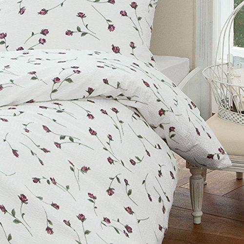 Janine Design - Biancheria da letto in seersucker Tango rosa, 1 copripiumino 240 x 220 cm + 2 federe 80 x 80 cm