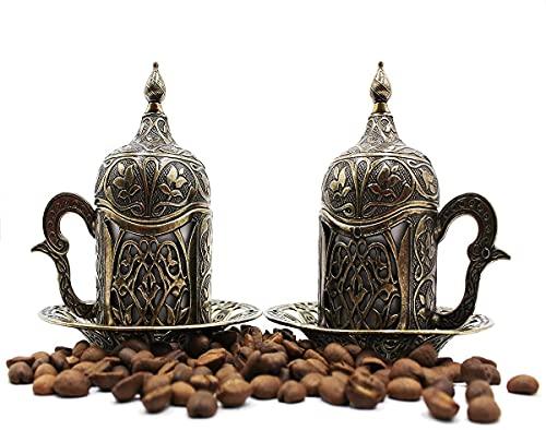 Türkische griechische arabische marokkanische Kaffeetasse – 2er-Set – Espressotasse mit innerem Porzellan-Metallhalter und Deckel – 2 Tassen besteht aus 8 Teilen – beste Geschenkidee (Bronze)