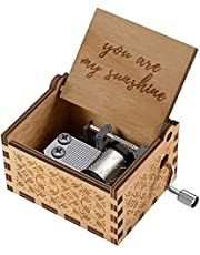 MAKINGTEC Wood Hand Crank Engraved Vintage Wooden Music Box Wedding Valentine Christmas Birthday Gift You are My Sunshine Music Gifts on Valentine's Day Birthday/Christmas for Girlfriend,Children
