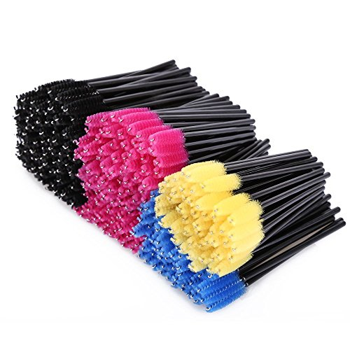 Txyk 300 Lot Multicolor jetables Applicateur de cils brosses à mascara cils Maquillage Kits de brosse, 6 couleurs