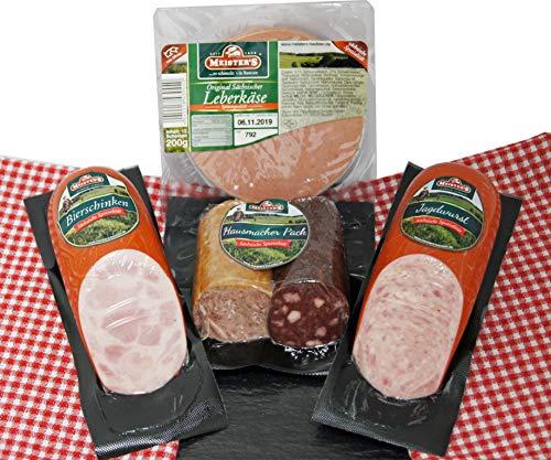 Hausmacher Wurstpaket Brotzeit Set   Leberkäse   Leberwurst geräuchert   Blutwurst   Bierschinken   Jagdwurst 1,1kg