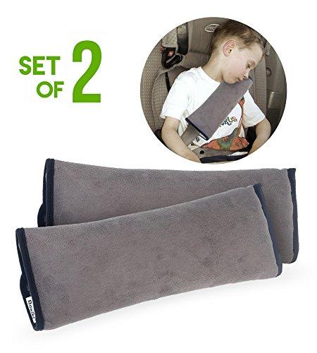 Pack de 2 fundas de cinturón de almohada | Almohadilla de soporte para cabeza de viaje en automóvil | Cubiertas de cinturón para adultos y niños | Fundas de cinturón de coche lavables a máquina
