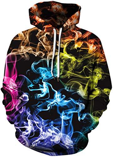 Chaos World Homme Sweats à Capuche Casual 3D Pull à Manches Longues Sweat-Shirts Hiver Hoodie avec Pochette (02-fumée Orange, M)