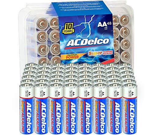 ACDelco 48-Count AA Batteries, Maximum Power Super Alkaline Battery, 10-Year Shelf Life, Recloseable Packaging